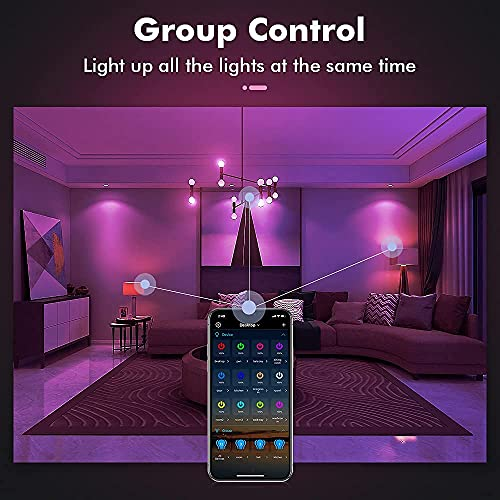 Smart Light Bulb,UL Listed,Work with Alexa,Google Home,Color Changing RGB Sync Music,WiFi+Bluetooth,7W=60W A19 Dimmable,Voice Control No Need Hub.E26 Smart Mood Lighting for Bedroom,Party