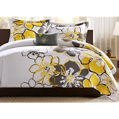 Mizone Allison 4 Piece Comforter Set, Yellow, Full/Queen
