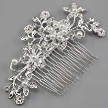 Click Down Bridal Wedding Jewelry Crystal Rhinestone Pearl Flowers Hair Comb Pin Silver