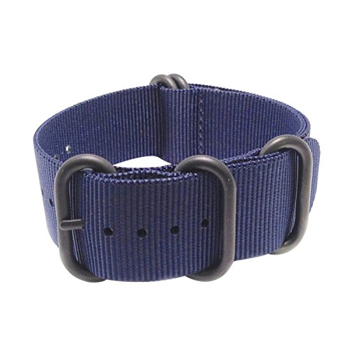 Wrist & Style Nylon Zulu Watch Strap (24mm, Blue/Black Loops)