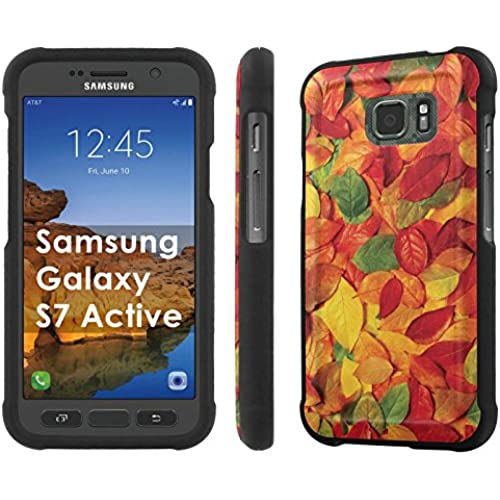 AT&T [Galaxy S7 Active] [5.1 Screen] Armor Case [NakedShield] [Black] Total Armor Protection [Shell Snap] + [Screen Protector] Phone Case - [Leaves Texture] for Sales