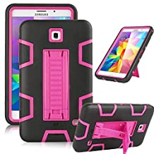"""Samsung Galaxy Tab 4 7.0 Case, Jwest [Kickstand] Full-body Rugged Hybrid Protective Dual Layer Design/Impact Resistant Bumper Case for Samsung Galaxy Tab 4 7.0"""" inch T230 (Black+Rose)"""
