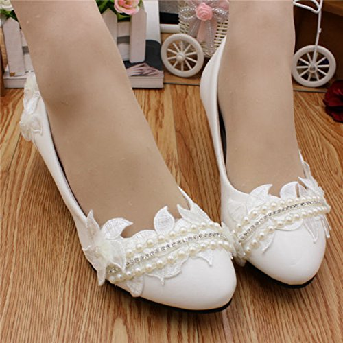 JINGXINSTORE Frauen Pearl Pearl Pearl Weiß Lace Braut Hochzeit Schuhe High Heels d39db5