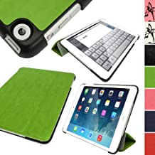 iGadgitz Premium Green PU Leather Smart Cover Case for Apple iPad Mini 1st, 2nd Generation with Retina & New iPad Mini 3 with Auto Sleep/Wake + Multi-Angle Viewing Stand + Screen Protector