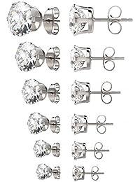 Womens Stainless Steel Stud Earrings Set Hypoallergenic...