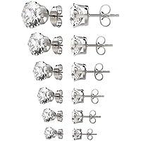 UHIBROS Womens Stainless Steel Stud Earrings Set Hypoallergenic Pierced Cubic Zirconia 6 Pairs 3-8mm