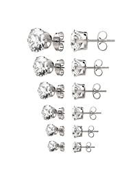 UHIBROS Womens Stainless Steel Stud Earrings Set Hypoallergenic Pierced Cubic Zirconia 18K White Gold Plated 6 Pairs 3-8mm