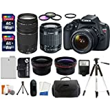 Canon EOS Rebel T5 18MP EF-S Digital SLR Camera USA warranty with canon EF-S 18-55mm f/3.5-5.6 IS II Zoom Lens & EF 75-300mm f/4-5.6 III Telephoto Zoom Lens + 58mm Telephoto Lens + 58mm Wide Angle Lens + Slave Flash + Spare Battery + UV Filter Kit with 24GB Complete Deluxe Accessory Bundle