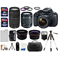 Canon EOS Rebel T5 18MP EF-S Digital SLR Camera USA warranty with canon EF-S 18-55mm f/3.5-5.6 IS II Zoom Lens & EF 75-300mm f/4-5.6 III Telephoto Zoom Lens + 58mm Telephoto Lens + 58mm Wide Angle Lens + Slave Flash + Spare Battery + UV Filter Kit with 24GB Complete Deluxe Accessory Bundle Advantages Review Image