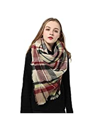 Blanket Scarves for Women Big Plaid Scarfs Womens Checked Lattice Winter Scarves