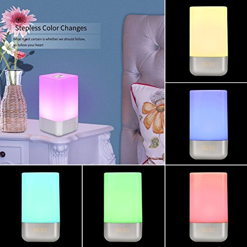 -[ HogarTech Wake Up Light Alarm Clock, Bedside Touch Lamp with Sunrise Simulation, 5 Natural Sound