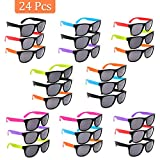 Neon Sunglasses Party Favor Bulk, 24 Pack Random Colored Party Eyewear Sunglasses Shade with Black Lens, Party Glasses for Kids and Adults Pool Party, Gifts, Game Prizes, Goodie Bag Fillers