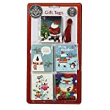 Luxury Silver Foiled Christmas Gift Tags - Colourful Cute - Pack of 50 - 6 Designs with Red Thread