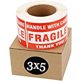 SJPACK Fragile Stickers 3'' x 5'' 1 Roll 500 Labels Fragile - Handle With Care - Thank you Shipping Labels Stickers (500 Labels / Roll)