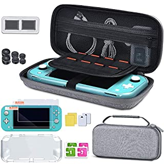 BEBONCOOL Carrying Case for Nintendo Switch Lite, 5 in 1 Hard Shell Travel Case with Screen Protector, TPU Cover, Game Card Case, 3 Pairs Joystick Caps for Nintendo Switch Lite Accessories