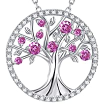 Birthday Gift for Her Tree of Life September Birthstone Created Sapphire Necklace Jewelry Sterling Silver