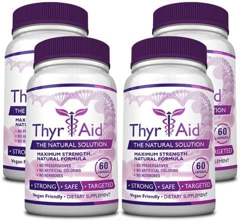 ThyrAid: Best Thyroid Support Supplement - Boosts Metabolism and Energy Levels and Maintains Healthy Weight - Supports Healthy Thyroid Function - Vegan friendly Formula - 4 Bottles