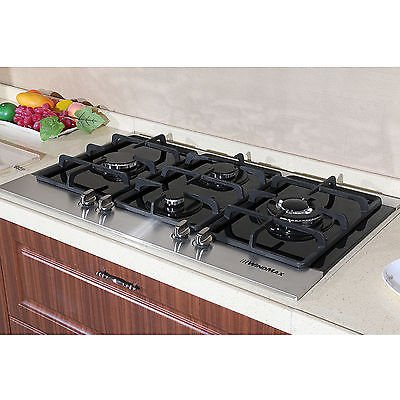 """Windmax 35"""" 4 Burners Kitchen LPG/NG Glass Built-in Oven Gas Hob Cooktops Gas Cooktop Cooker"""