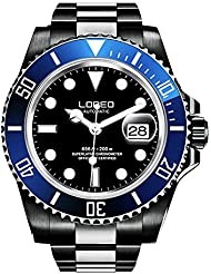 LOREO Mens GMT Black Stainless Steel Sapphire Blue Rotating bezel Black dial Automatic Watch