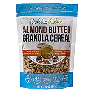Diabetic Kitchen Almond Butter Keto Granola Cereal - 4g Net Carbs, No Sugar Added, Keto Friendly, Low Carb, Gluten-Free, High Fiber, Non-GMO, No Artificial Sweeteners or Sugar Alcohols Ever (11 oz)