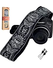 Camera Strap Royal Silver & Black Woven for All DSLR Camera. Embroidered Elegant Universal Neck & Shoulder Strap, Unique Pattern, Best Stocking Stuffer for Men & Women Photographers