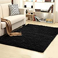 Junovo Area Rugs Living Room, Sound-Insulating Home Decor Mats 4' x 5.3',Black