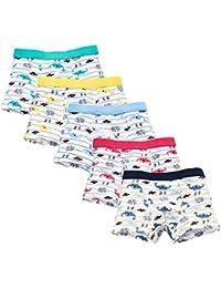 Toddler Little Boys Soft Modal+ Cotton Boxer Briefs Underwear 5 Pack Dinosaur 2-9Y