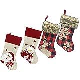 ZUDZUW 4PCS Christmas Stockings Decoration Christmas Santa Snowman Snow Flower Elk Lovely Socks Hanging on Wall Decoration Gift Treat Bag