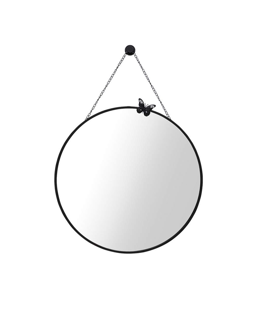 Black 27.6 IN ZLoader Round Mirror Bathroom Mirror Simple Circular Dressing Mirror Smooth Frame Chain Hanging Mirror (color   Beige 23.6 in)
