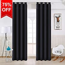 TEKAMON Thermal Insulated Blackout Room Darkening Grommet Curtains for Living Room/Bedroom (2 Panels, W52 X L63 Inches,Jet Black)