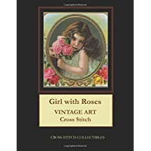 Girl with Roses: Vintage Art Cross Stitch Pattern