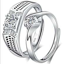 Infinite U 925 Sterling Silver Adjustable Band Couple Ring