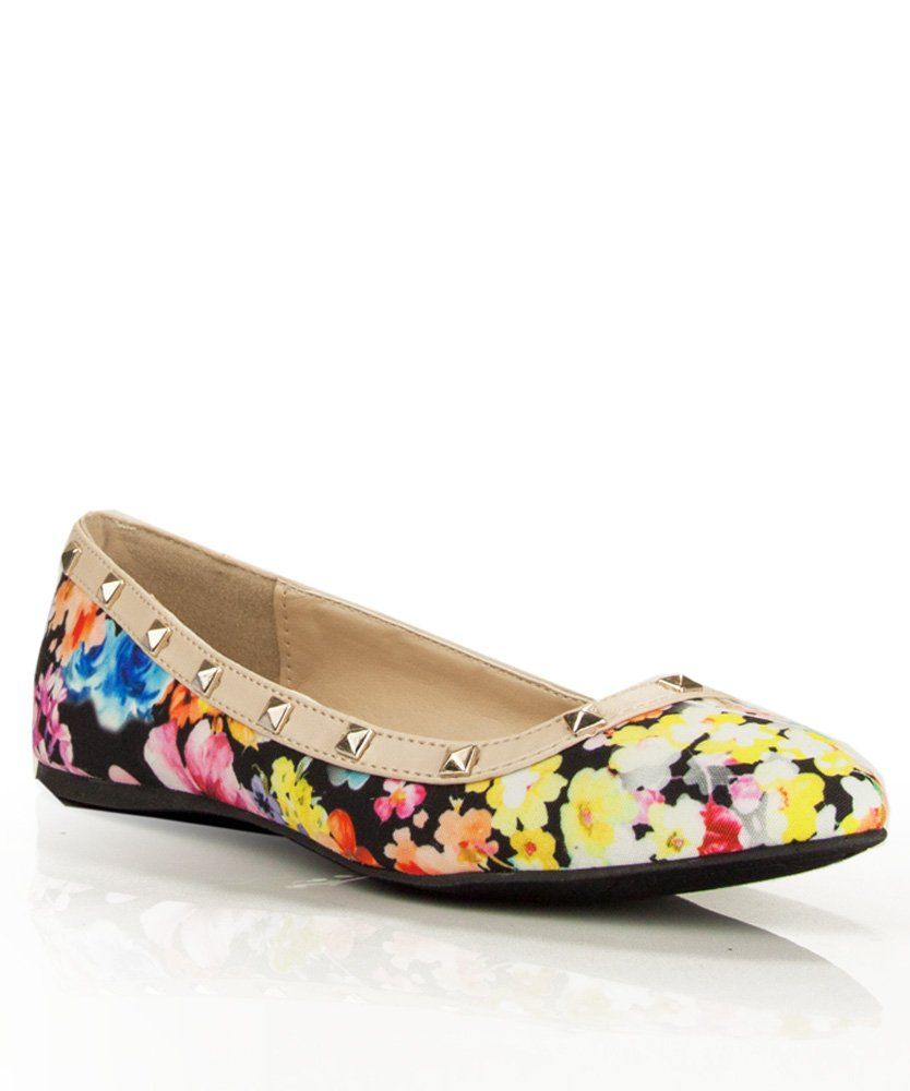 RF ROOM OF FASHION Women's Classic Casual Dressy Comfort Soft Slip on Pointed Toe Ballet Flats B00YR3A0QA 5.5 B(M) US New Black Floral With Studs