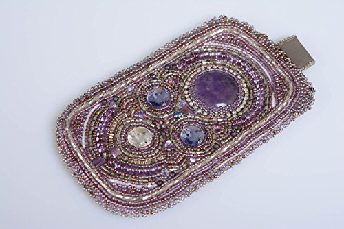 Handmade Violet Bead Embroidered Phone Case With Natural Amethyst And Rhinestones