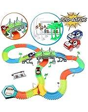 infinitoo Tracks Magique Circuit de Voiture Flexible Tracks Car | Une Piste 220 Pièces Modulable au Néon+2 Voitures Lumineuses + 40 Accessoires| Cool Cadeau pour Enfants à Partir de 3 Ans (220+40pcs)