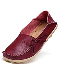 Women's Leather Loafers Moccasins Wild Driving Casual Flats Oxfords Breathable Shoes