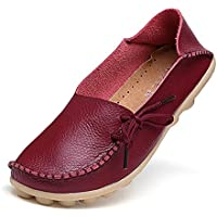 Amaxuan Women's Leather Loafers Shoes Wild Driving Casual Flats