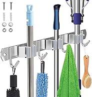 Cozii 2021 Upgrade Broom Holder Wall Mount Garage Organizer Garden Tool Organizer Heavy Duty Holds Up to 30 lb