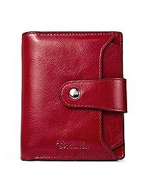 BOSTANTEN Women Leather Wallet RFID Blocking Small Bifold Zipper Pocket Wallet Card Case Purse with ID Window