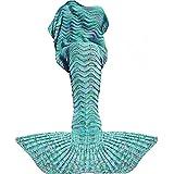Fu Store Mermaid Tail Blanket Crochet Mermaid Blanket for Adult, Super Soft All Seasons Sofa Sleeping Blanket, Cool Birthday Wedding Christmas, 71 x 35 Inches, Mint Green
