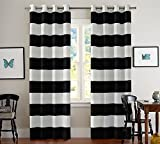 Black and White Curtains Turquoize Nautical Blackout Curtains(2 PANELS), Room Darkning, Grommet Top, Light Blocking Curtains, 52W by 84L Inch, Wave Stripes Pattern, Black & White, Sold by Pair