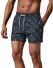 MaaMgic zwembroek voor heren Jongens zwembroek voor heren Sneldrogende surfstrandbroek Surfshort met pure voering, Anker zwart, L