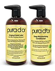 PURA D'OR Biotin Original Gold Label Anti-Thinning (16oz x 2) Shampoo & Conditioner Set, Clinically Tested Effective Solution w/Herbal Ingredients, All Hair Types, Men & Women (Packaging may vary)