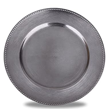 Fantastic:) 6-Piece Round Charger Plates with Metallic Finish, 13x13-Inch, Beaded Gungrey