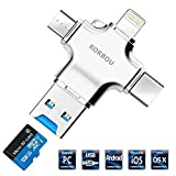 Card Reader, 4 in 1 Micro SD Card Reader with Type C USB Lightning Connector OTG HUB Adapter, TF Flash Memory Card Readers For iPhone, iPad, Mac, PC, Android USB 3.0(Silver)