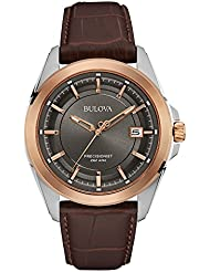 Bulova Mens 98B267 Stainless Steel Dress Watch With Brown Leather Band