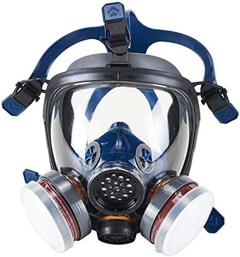 Organic Vapor Full Face Respirator Safety Mask, IVSUN Activated Carbon Respirator Paint Respirator Gas Chemical Dustproof Pesticides Mask (Respirator +1 Pair LDY3 Cartridges)