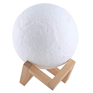 LUZ LED 1W 3D Print Moon Lamp Control de Carga USB Control de 16 Colores LED cambiante Ahorro de energía Night Light con Base de Madera del Soporte y Control Remoto, Diámetro: 8cm