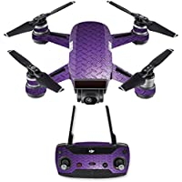 Skin for DJI Spark Mini Drone Combo - Purple Diamond Plate| MightySkins Protective, Durable, and Unique Vinyl Decal wrap cover | Easy To Apply, Remove, and Change Styles | Made in the USA