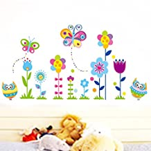 Beautiful Flowers Lovely Owls Butterflies Wall Decal Home Sticker House Decoration WallPaper Removable Living Dinning Room Bedroom Kitchen Art Picture Murals DIY Stick Girls Boys kids Nursery Baby Playroom Decoration